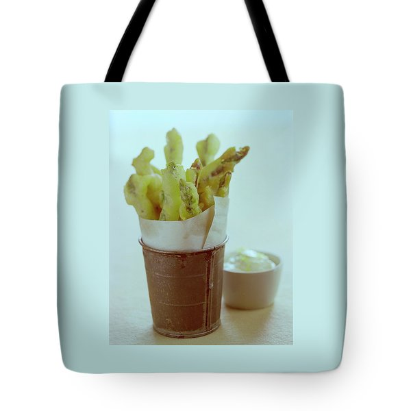 Fried Asparagus Tote Bag by Romulo Yanes