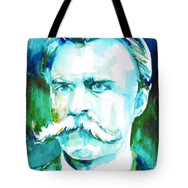 Friedrich Nietzsche Watercolor Portrait.1 Tote Bag by Fabrizio Cassetta