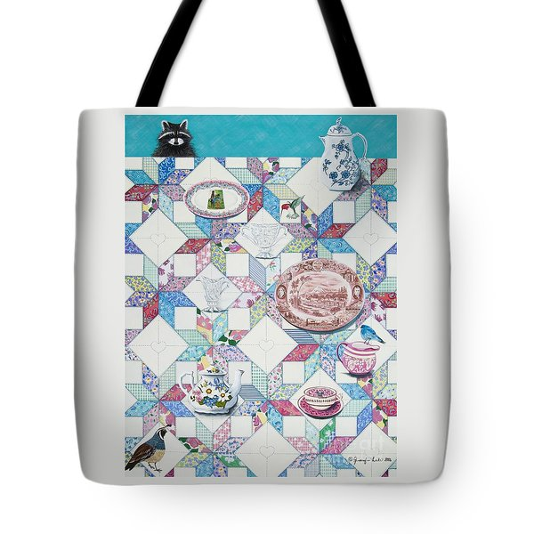 Tote Bag featuring the painting Friends Come To Tea by Jennifer Lake
