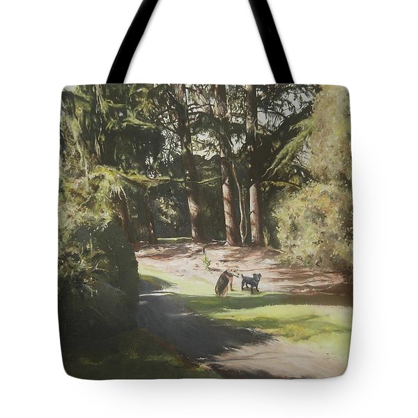 Tote Bag featuring the painting Friends Fur Ever by Cherise Foster