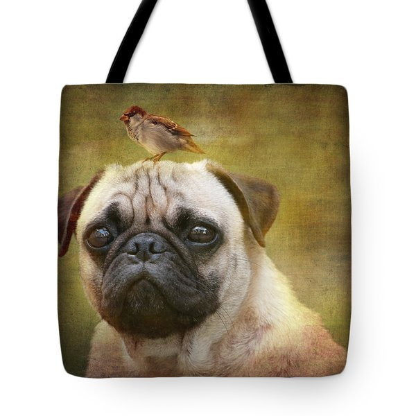 Friends Like Pug And Bird Tote Bag by Barbara Orenya