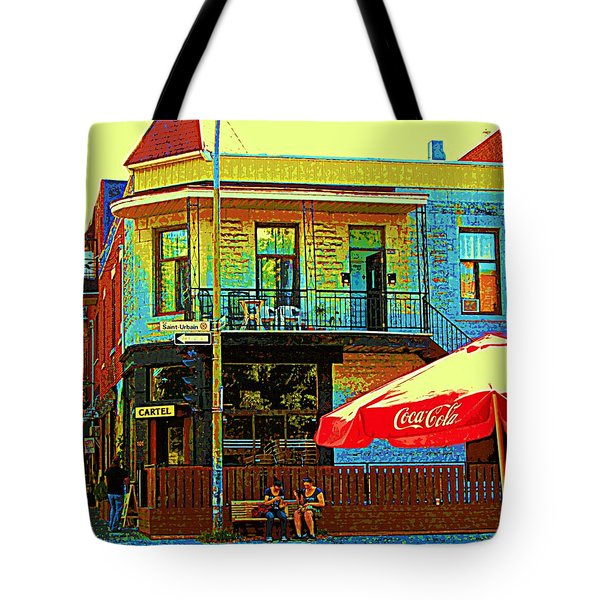 Friends On The Bench At Cartel Street Food Mexican Restaurant Rue Clark Art Of Montreal City Scene Tote Bag by Carole Spandau