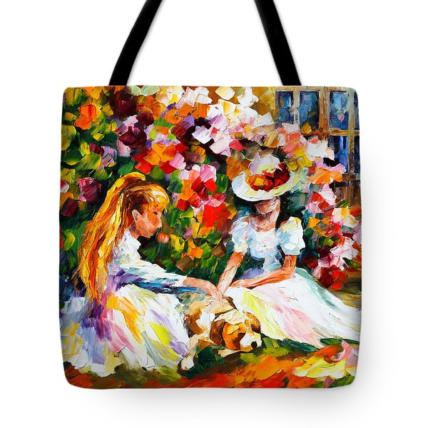 Friends With A Dog Tote Bag by Leonid Afremov