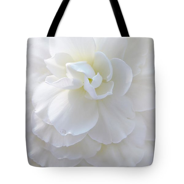 Frilly Ivory Begonia Flower Tote Bag by Jennie Marie Schell