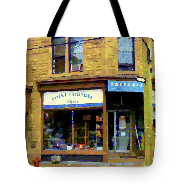 Friperie Point Couture Psc Rue Charlevoix South West Montreal Street Scene Art Carole Spandau Tote Bag by Carole Spandau