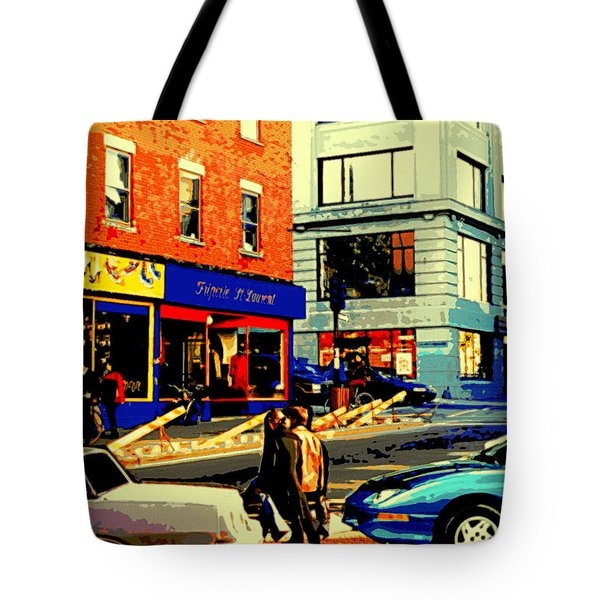 Friperie St.laurent Clothing Variety Dress Shop Downtown Corner Store City Scene Montreal Art Tote Bag by Carole Spandau