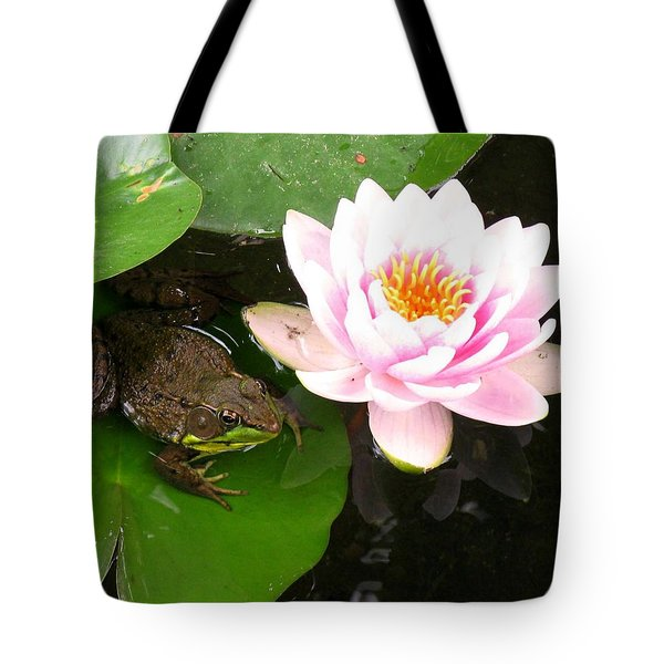 Frog And Lily Tote Bag by Debbie Finley