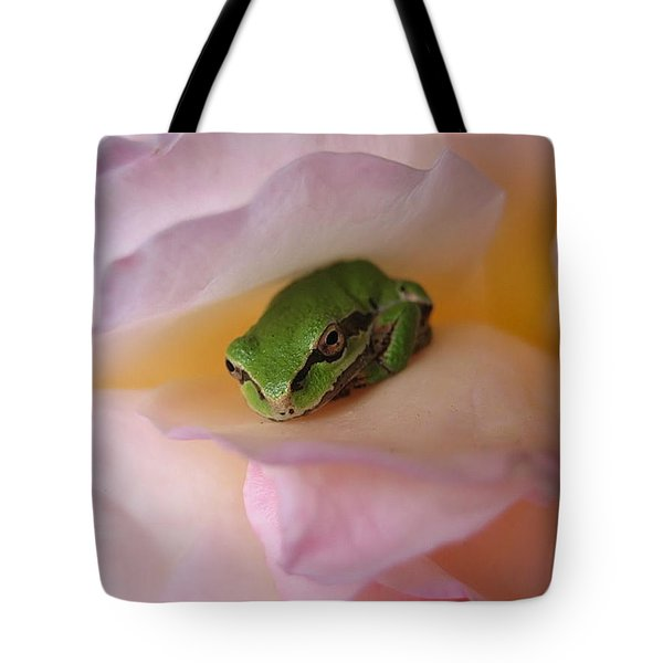 Tote Bag featuring the photograph Frog And Rose Photo 2 by Cheryl Hoyle