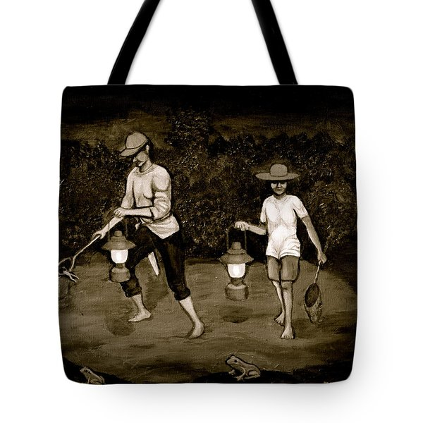 Frog Hunters Black And White Photograph Version Tote Bag