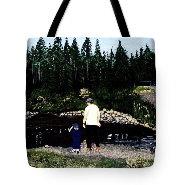 Frog Hunting With Poppy Tote Bag by Barbara Griffin