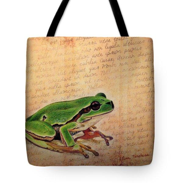 Frog On Paper Tote Bag