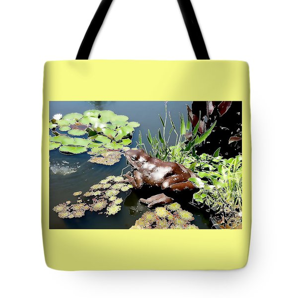 Tote Bag featuring the photograph Frog On The Pond by Ellen Tully