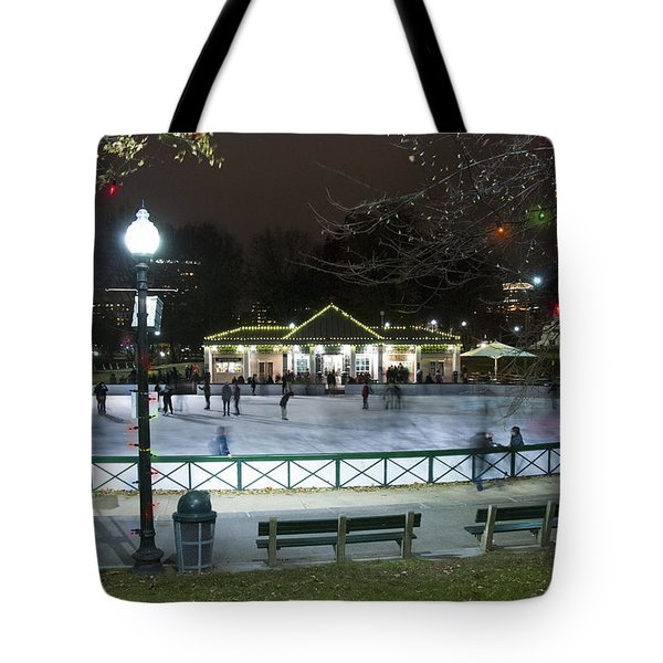Frog Pond Ice Skating Rink In Boston Commons Tote Bag