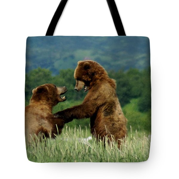 Frolicking Grizzly Bears Tote Bag by Patricia Twardzik
