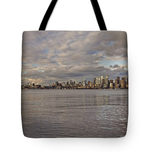 from Alki Beach Seattle skyline Tote Bag