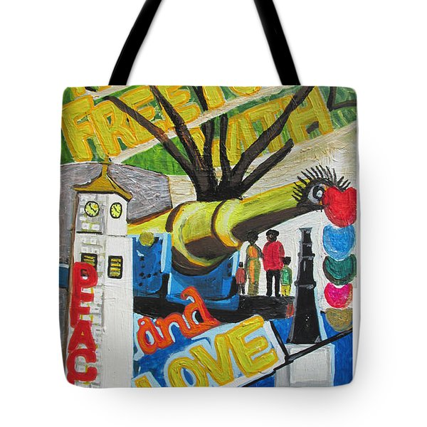 From Freetown With Peace And Love Tote Bag by Mudiama Kammoh