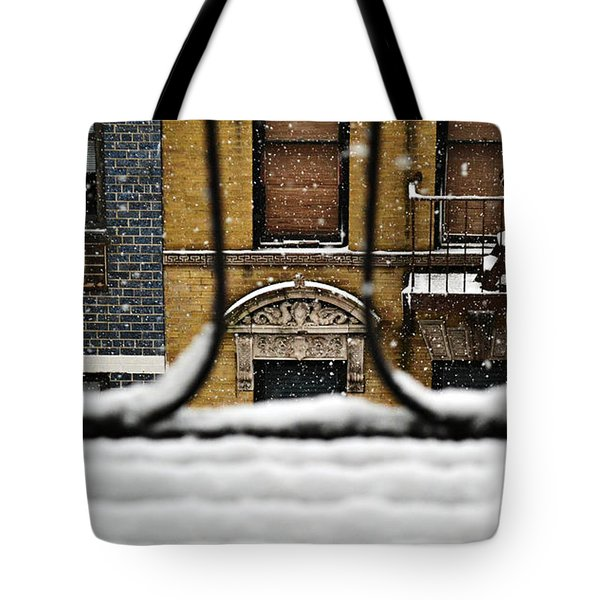 From My Fire Escape - Arches In The Snow Tote Bag by Miriam Danar