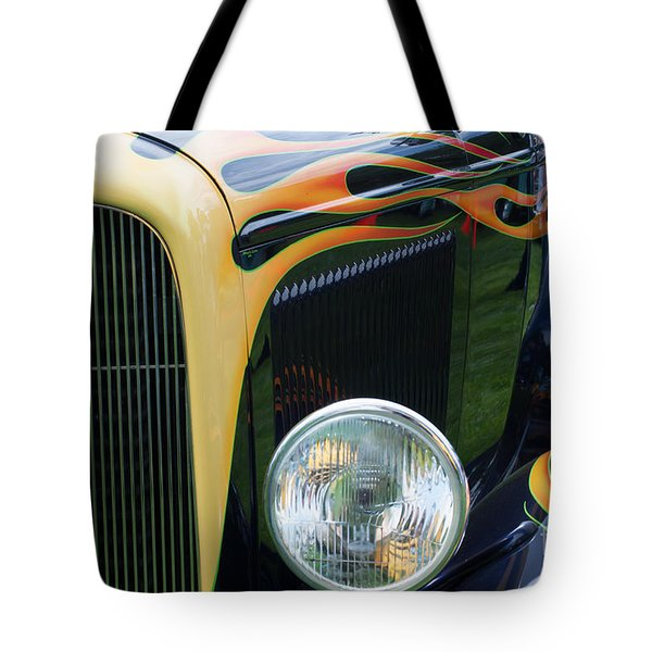 Tote Bag featuring the photograph Front Of Hot Rod Car by Gunter Nezhoda