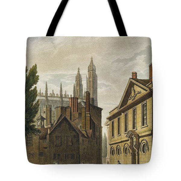 Front Of Trinity Hall, Cambridge Tote Bag by Augustus Charles Pugin