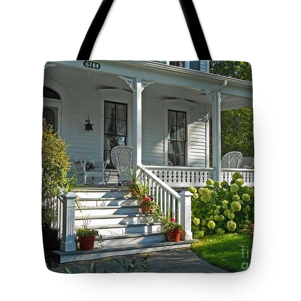 Front Porch In Summer Tote Bag by Desiree Paquette