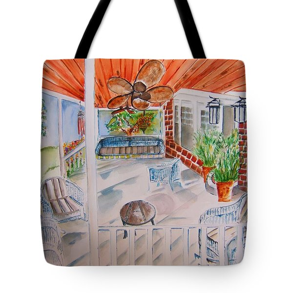 Front Porch Sitting Tote Bag by Elaine Duras