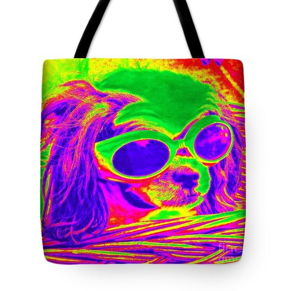 Front Seat Driver Pop Art - Puppy Mania Tote Bag by Ella Kaye Dickey