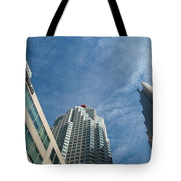 Front Stree Down Town Toronto Sky View Through The Hotels Skyscraper Condo  Housing Buildings Water  Tote Bag