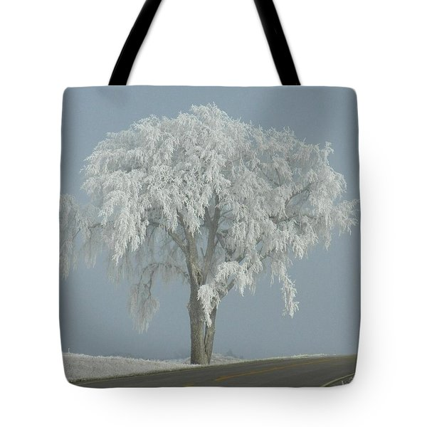 Frost Covered Lone Tree Tote Bag