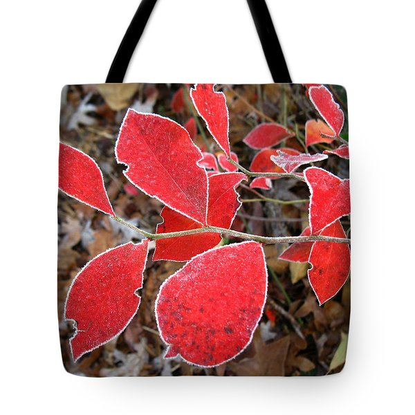 Frosted Blueberry Leaves Tote Bag