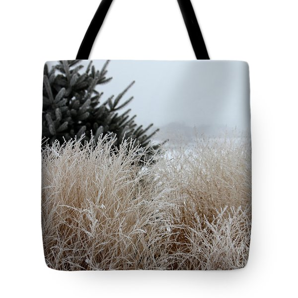 Frosted Grasses Tote Bag by Debbie Hart