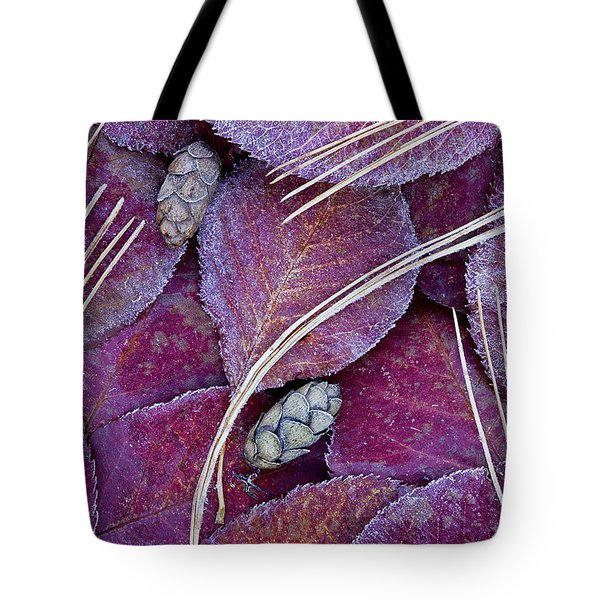 Tote Bag featuring the photograph Frosted Leaves by Alan L Graham