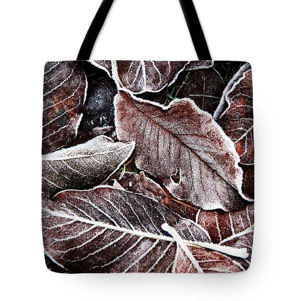 Frosted Leaves Tote Bag by John Bushnell