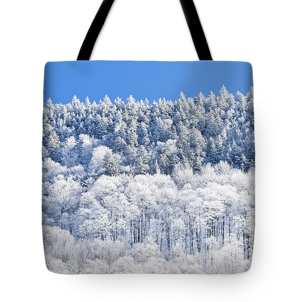 Frosted Mountainside Tote Bag by Alan L Graham
