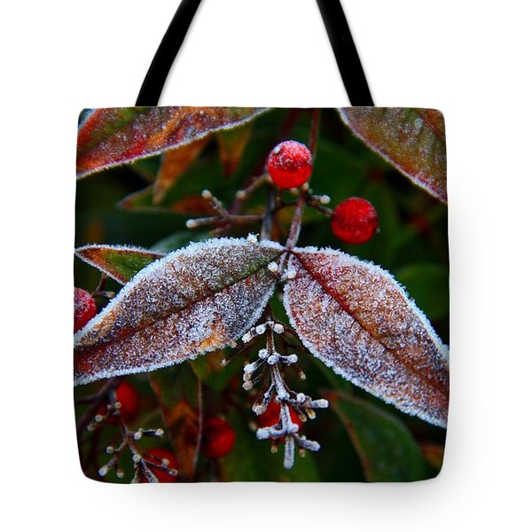 Frosted Nandina Leaves Tote Bag