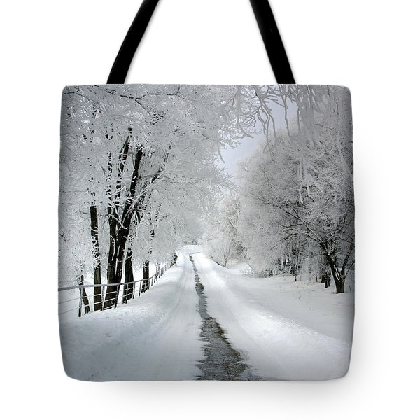 The Long Frosted Road Tote Bag