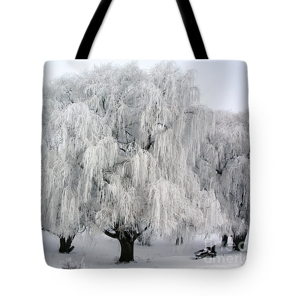 Frosted Willow Trees Tote Bag
