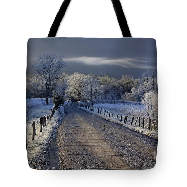 Frosty Cades Cove Hdr Tote Bag by Douglas Stucky
