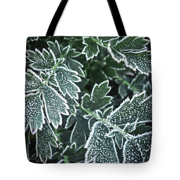Frosty Leaves In Late Fall Tote Bag
