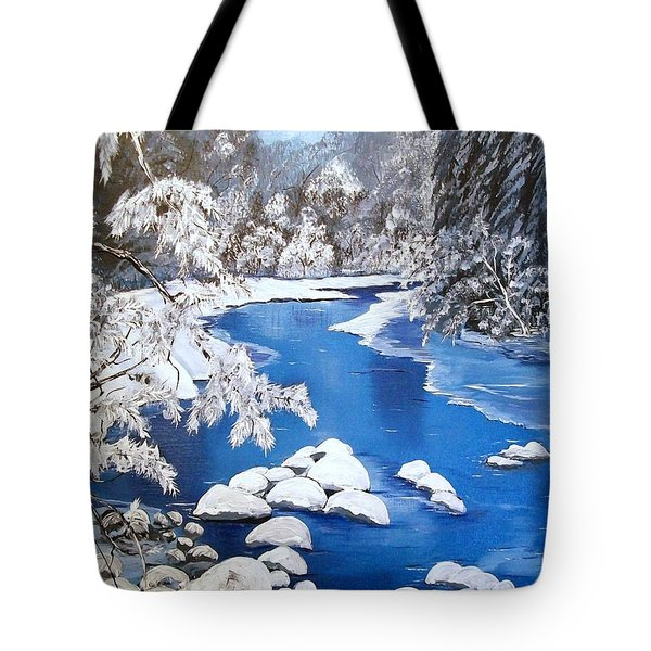 Tote Bag featuring the painting Frosty Morning by Sharon Duguay