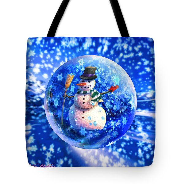 Tote Bag featuring the painting Frosty The Snowglobe by Robin Moline