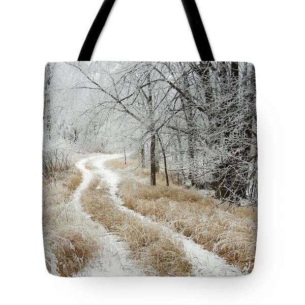 Tote Bag featuring the photograph Frosty Trail 2 by Penny Meyers