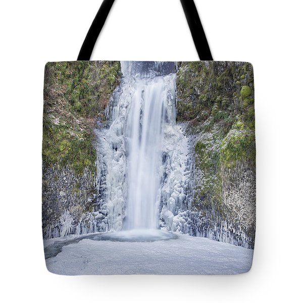 Frozen At Multnomah Falls Tote Bag by David Gn