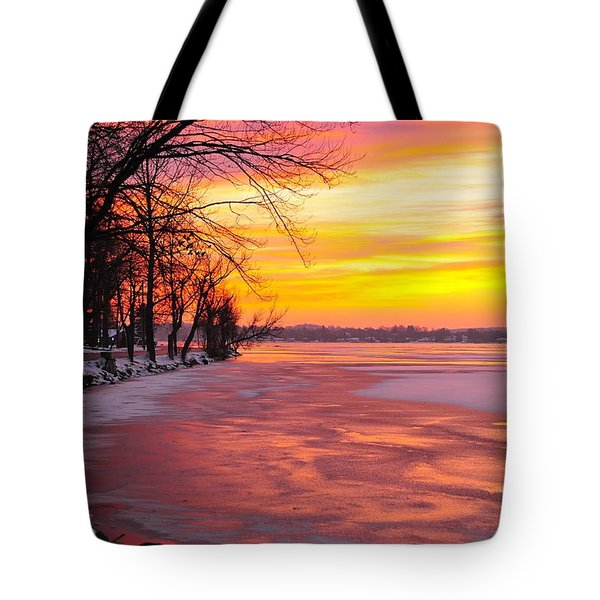 Tote Bag featuring the photograph Frozen Dawn At Lake Cadillac  by Terri Gostola