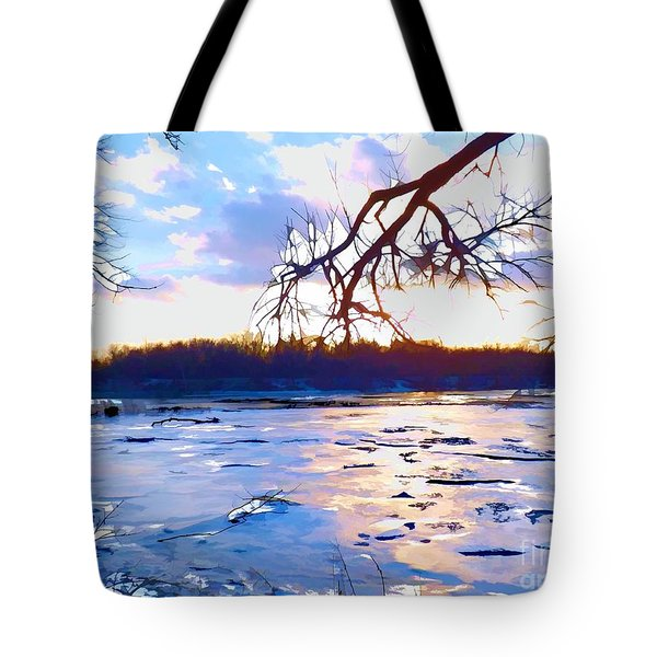 Frozen Delaware River Sunset Tote Bag