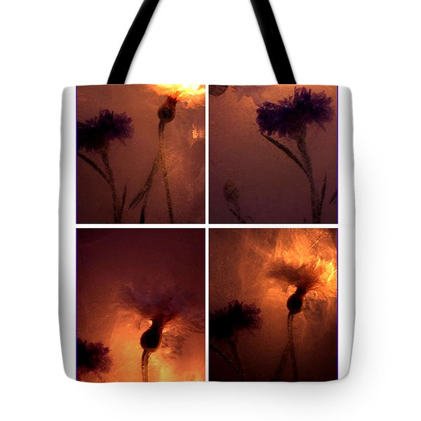 Tote Bag featuring the photograph Frozen Flowers Collage by Randi Grace Nilsberg