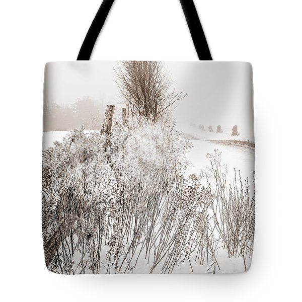 Frozen Fog On A Hedgerow - Bw Tote Bag