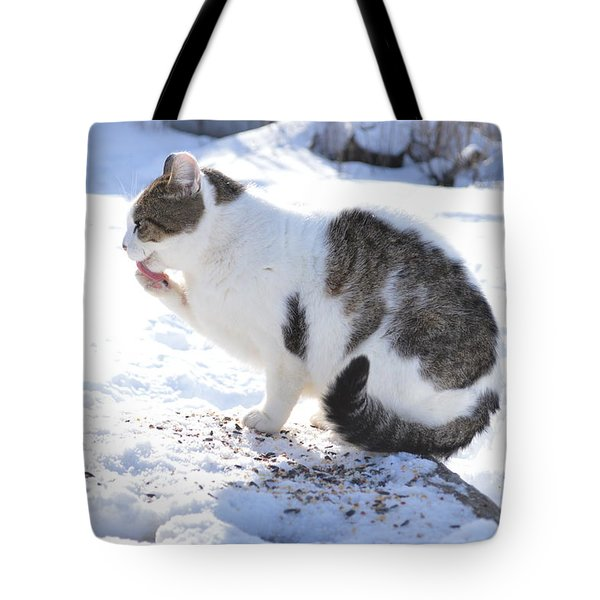 Frozen Paws Tote Bag by Dacia Doroff