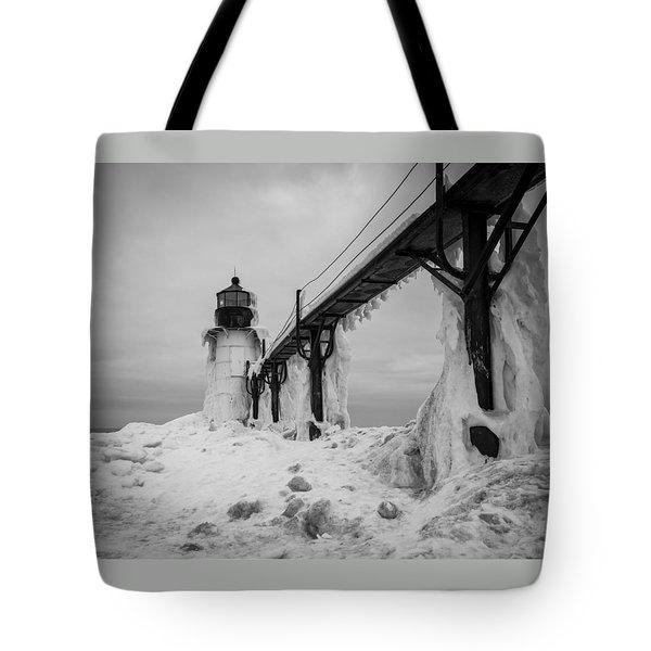 Frozen St. Joseph Lighthouse Tote Bag
