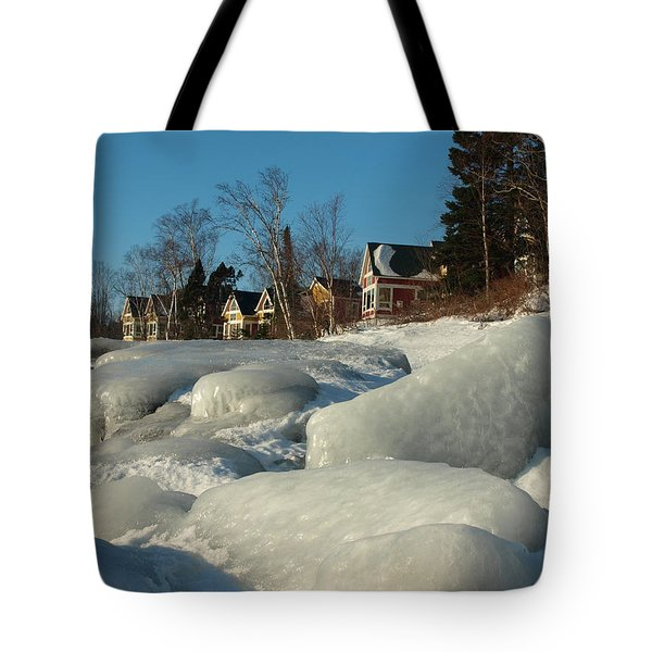 Tote Bag featuring the photograph Frozen Surf by James Peterson
