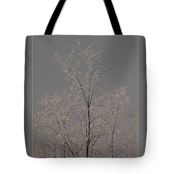 Tote Bag featuring the photograph Frozen Tree On Winter Field by Odon Czintos